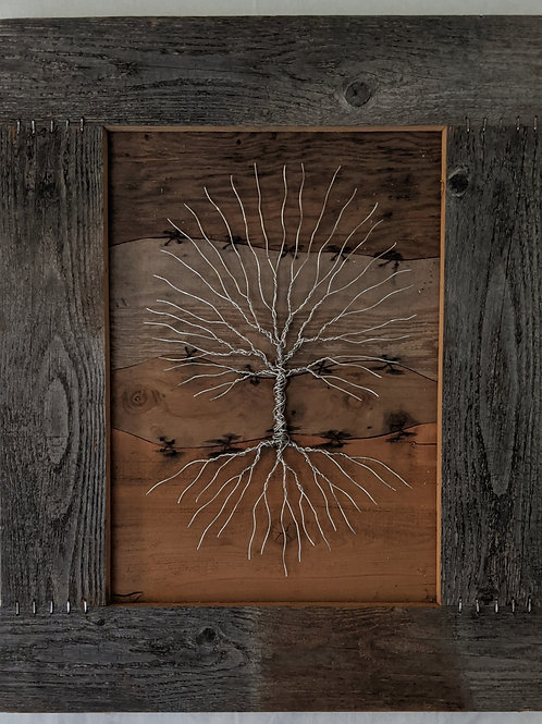 Wire tree of life recycled materials scrap wood driftwood staples art