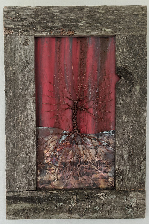 copper tree of life on corrugated metal and copper with rustic wood frame