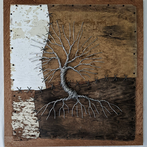 Aluminum wire tree of life recycled materials salvaged found driftwood wire stitching back framed