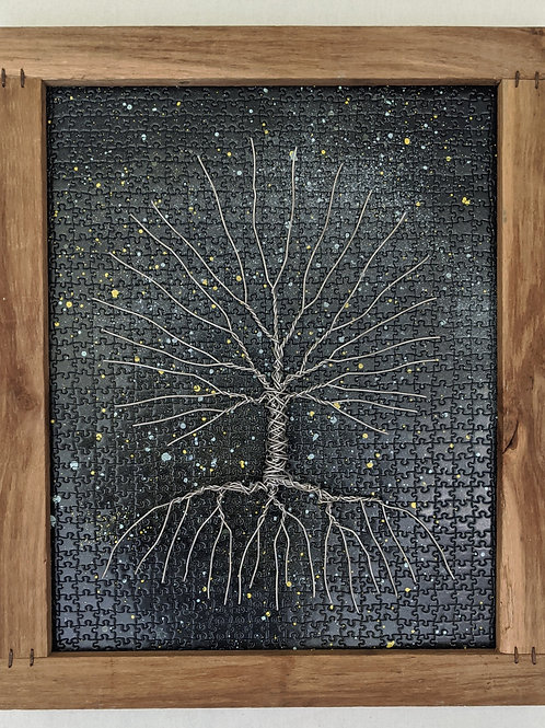 wire tree of life puzzle background recycled materials art scrap wood