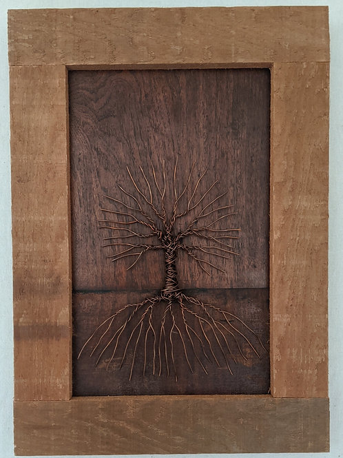 copper wire tree of life recycled materials art wood salvaged