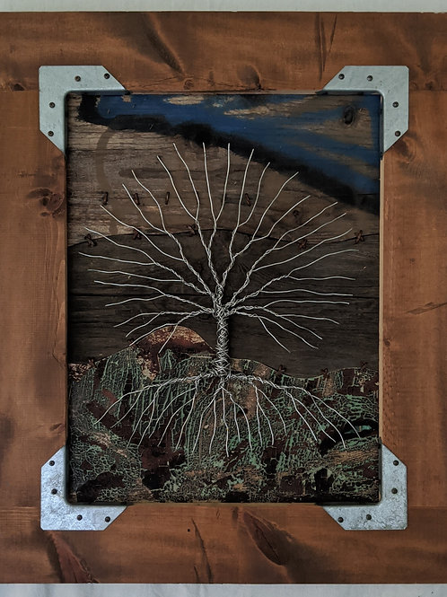 Wire tree of life recycled materials art scrap wood graffiti