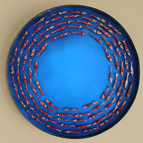 fish art made with recycled materials scrap fence wood frame don antonio anchovy tin vintage round wine barrel hoop frame