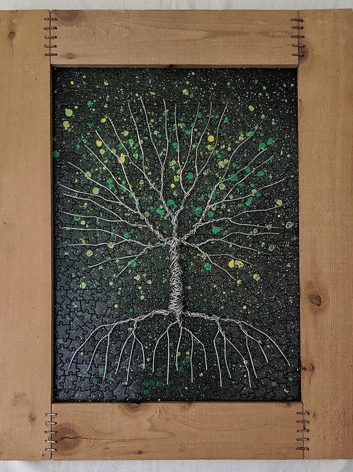 Tree of life recycled art aluminum wire puzzle background scrap wood cedar frame