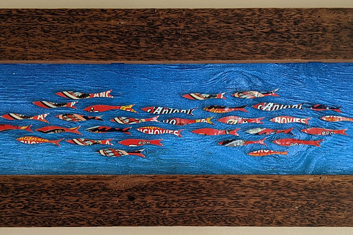 fish art made with recycled materials scrap fence wood frame don antonio anchovy tin vintage