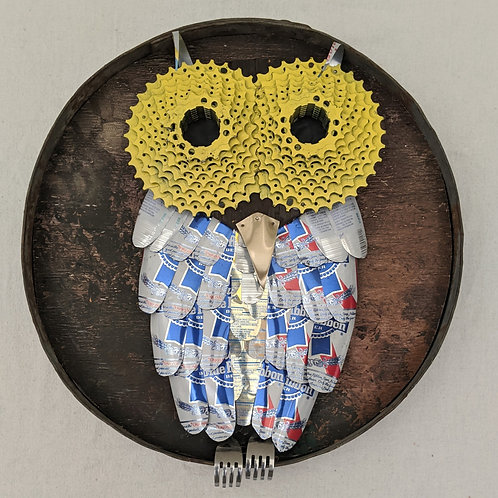 owl made with recycled materials bike spokes soda cans Rolling Rock art