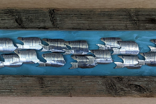 fish art made with recycled materials scrap fence wood frame pepsi