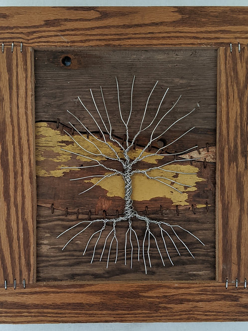 aluminum wire tree of life recycled materials art wood