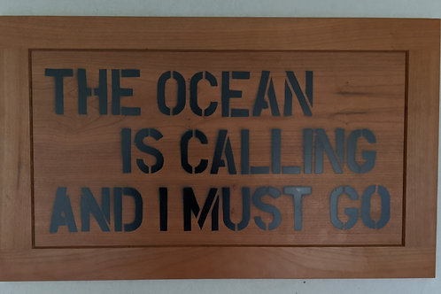 The ocean is calling and I must go quote recycled materials wall art
