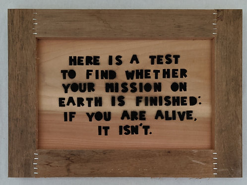 mission in life art quote recycled materials