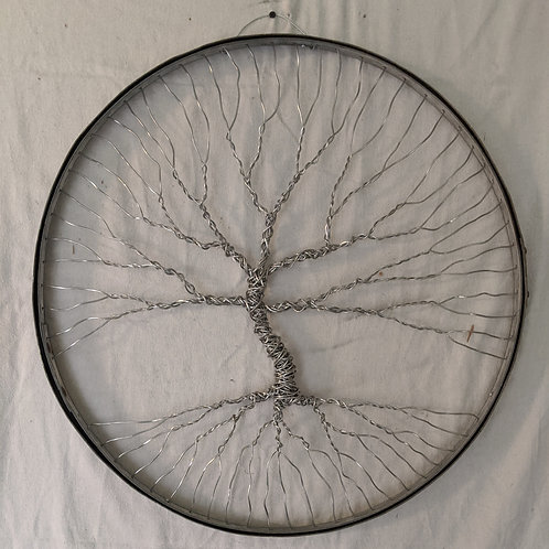 Tree of life recycled art wine barrel hoops high tension wire
