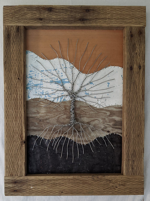 veneer tree of life aluminum wire driftwood frame scrap salvage recycled art