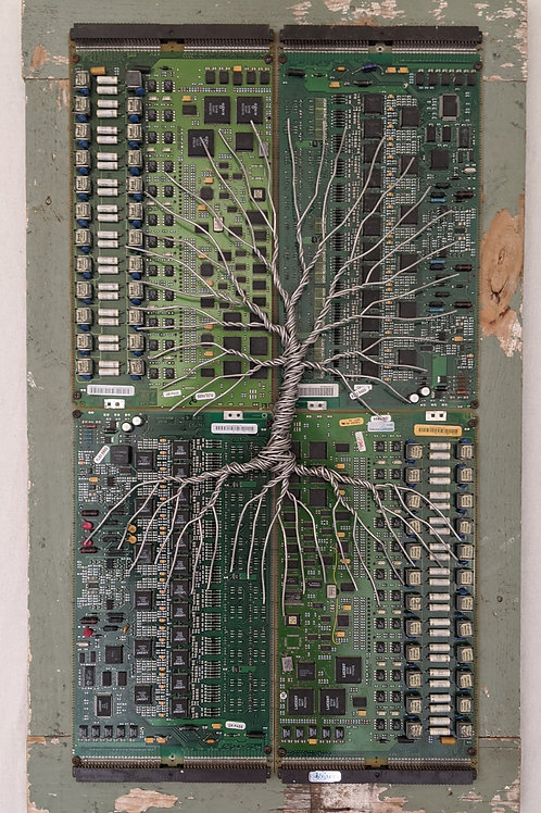 wire tree of life circuit board background recycled materials art scrap wood