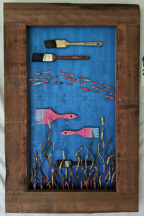 paintbrush fish ventana surfboards quote aquarium recycled materials art anchovies Don Antonio vintage