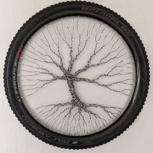 recycled materials art Tree of Life aluminum wire bicycle wheel tire