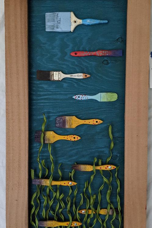 paintbrush fish ventana surfboards aquarium recycled materials art