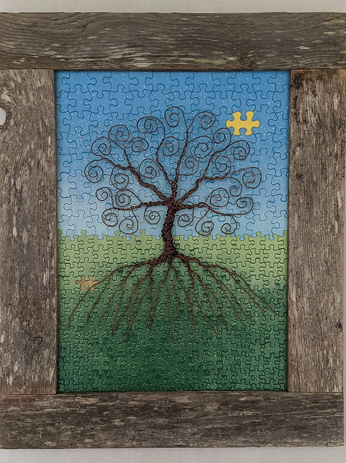 copper wire tree of life puzzle background recycled materials art hand made frame