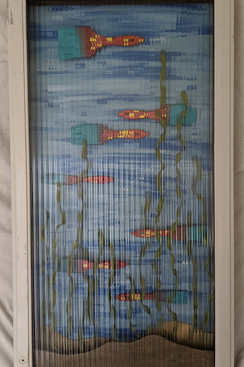 paintbrush fish ventana surfboards quote aquarium recycled materials art behind glass