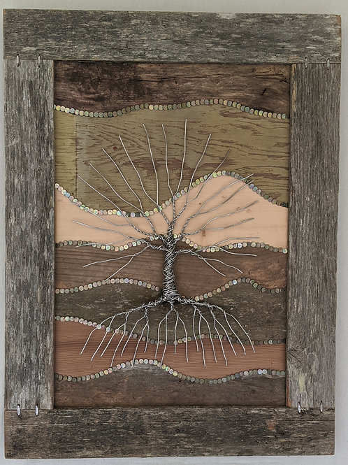 wire tree of life wood background recycled materials art scrap wood roofing nails