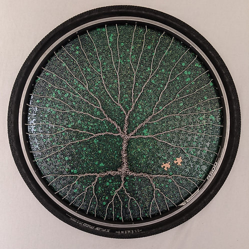 recycled materials art Tree of Life aluminum wire puzzle bike rim