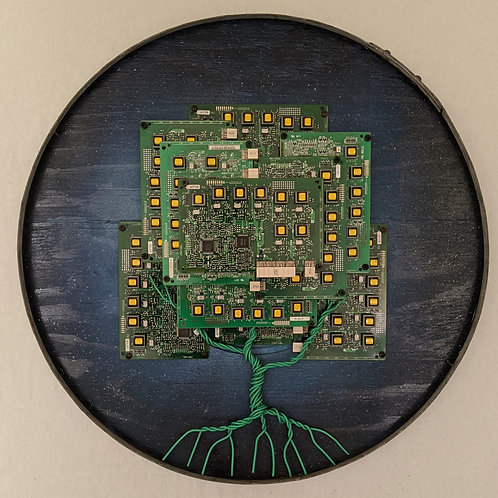 tree made of circuit boards motherboards recycled materials art blue daytime round