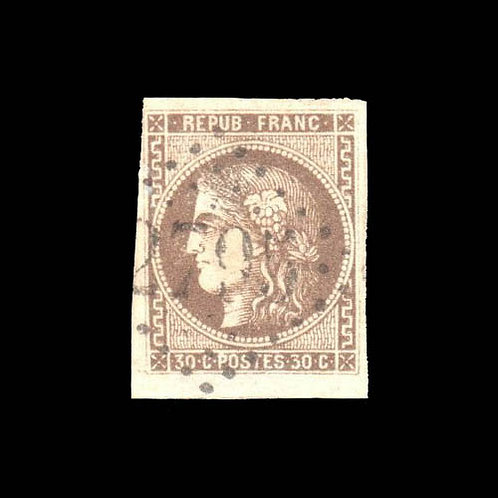 France, 1870, Bordeaux, 30¢ brown on yellowish