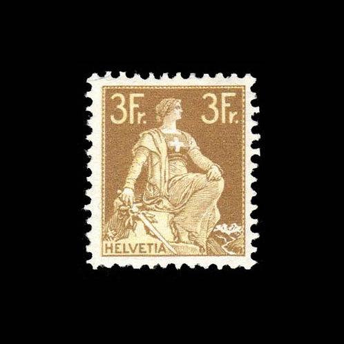 Switzerland, 1908, Helvetia with Sword, 3fr bister & yellow