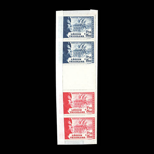 France, 1942, Tricolor Legion, vertical pair with partial albino impression