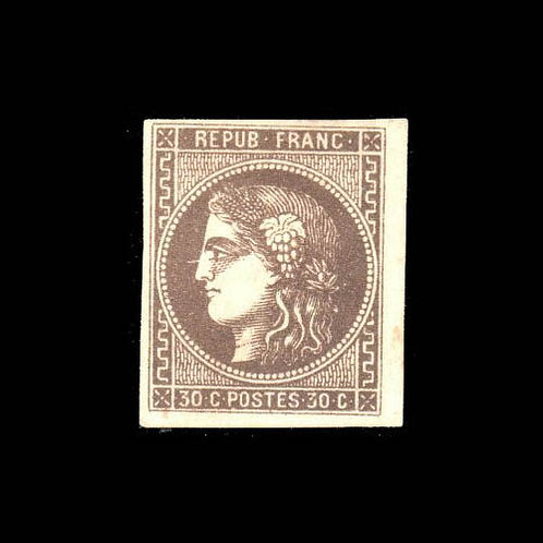France, 1870, 30¢ black brown