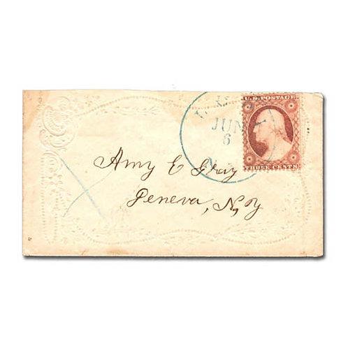 1857, 3c rose, type I