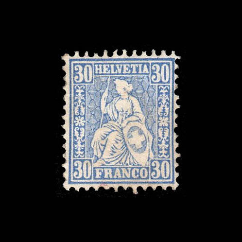 Switzerland, 1867-78, Sitting Helvetia, 30c on 90c ultramarine