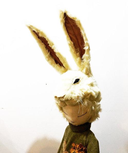 Textile Sculpture, large Hare Bust