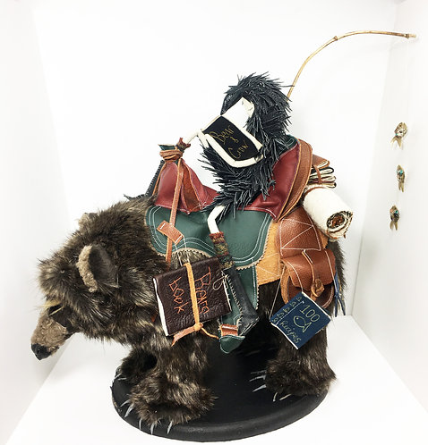 Special offer P&P included!!  The Bear and The Crow, Textile Sculpture.