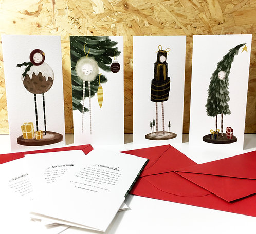 Christmas cards!!  a set of all four beauties. limited edition x