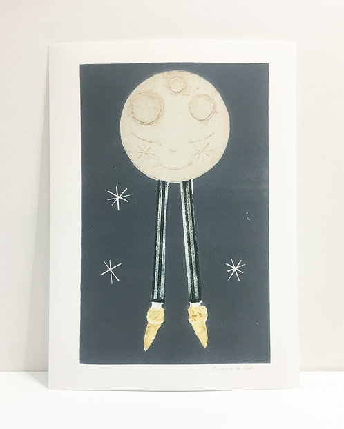 Large Lunar Giclee Print.  the cat in the shoe & Helen Brasher