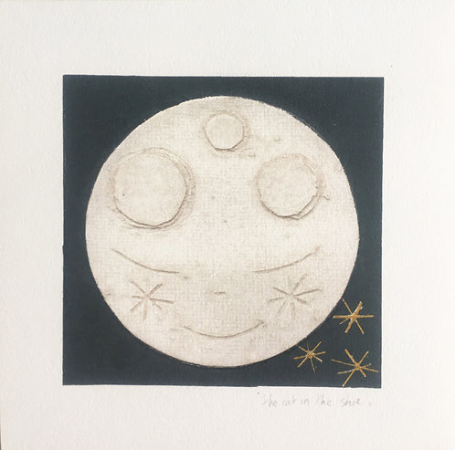 Mini moon Giclee Print. Collaboration between the cat in the shoe & Helen Brashe