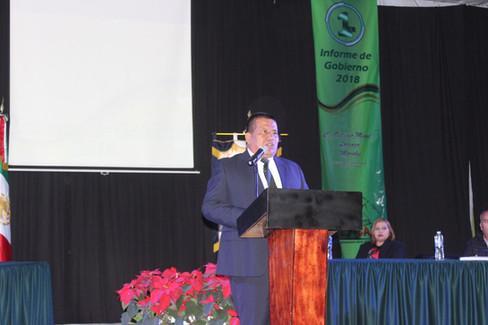 Rinde Octavio Misael Lorenzo Morales su primer informe de labores.