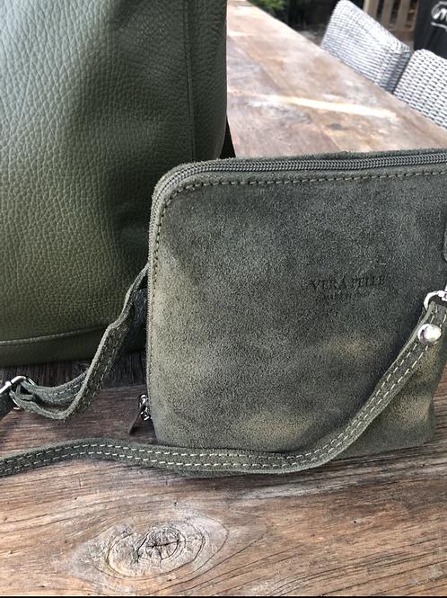 Khaki suede side bag
