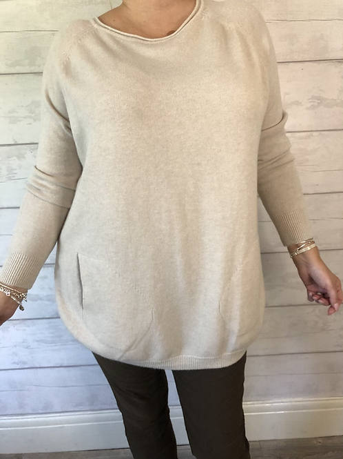 Cream button side jumper