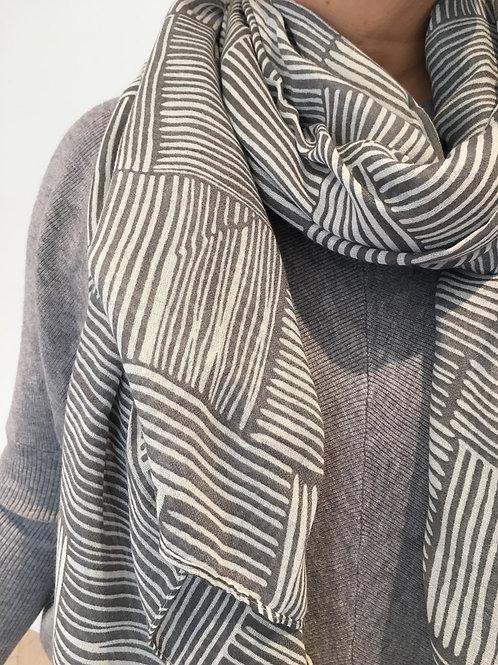 Grey asem print scarf