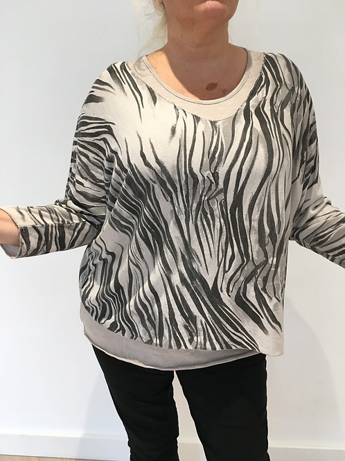Beige zebra print fine sweater set