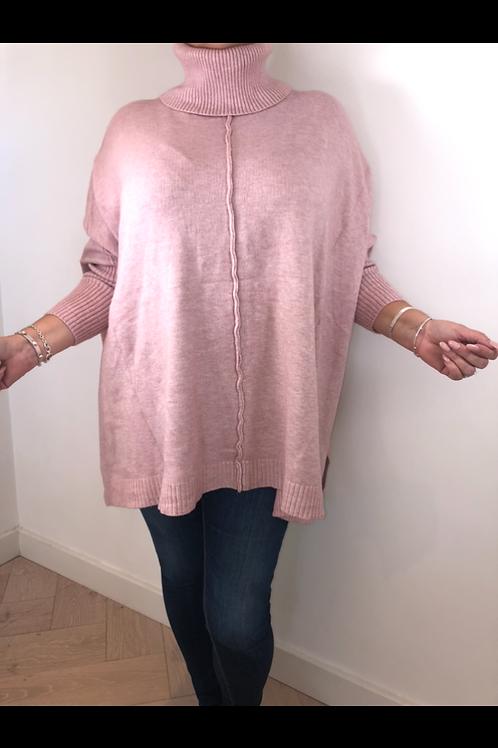 Pink over size roll neck jumper