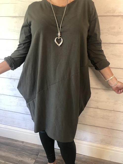 Olive jersey dress