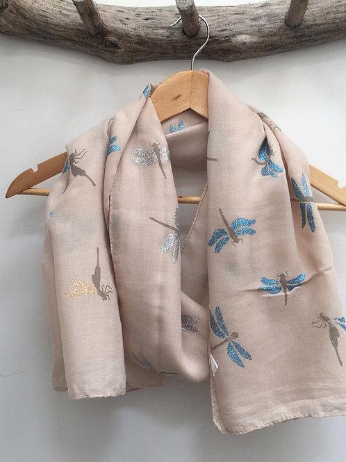 Beige dragon fly scarf