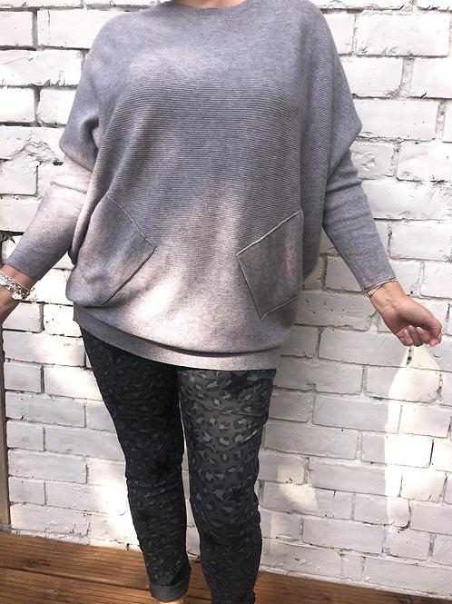 Grey ribbed plait back jumper