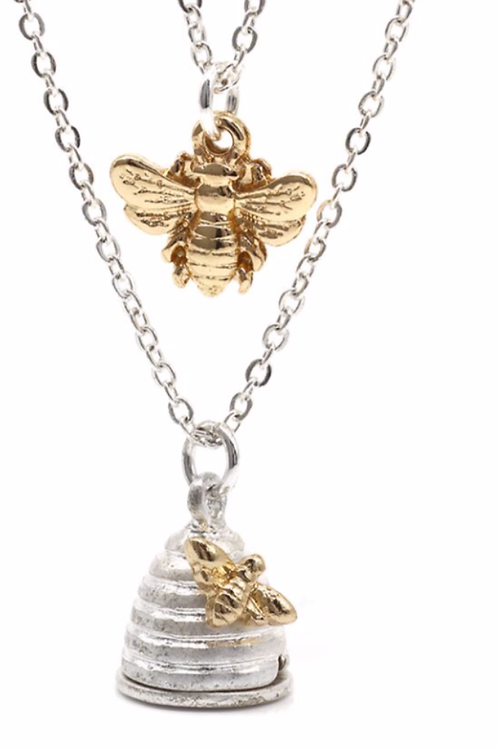 Bee and Honey pot layered necklace