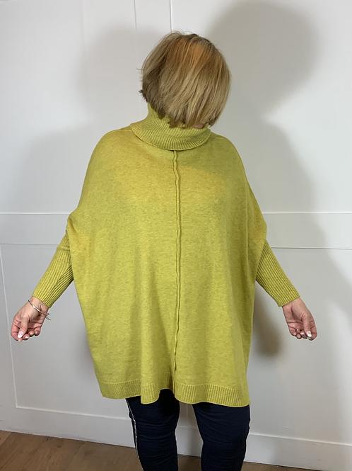 Lime oversize roll neck jumper