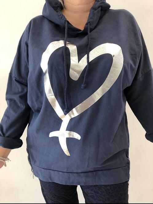 Navy heart hoodie