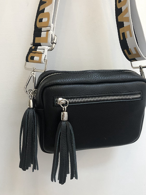 Black leather bag with LOVE strap
