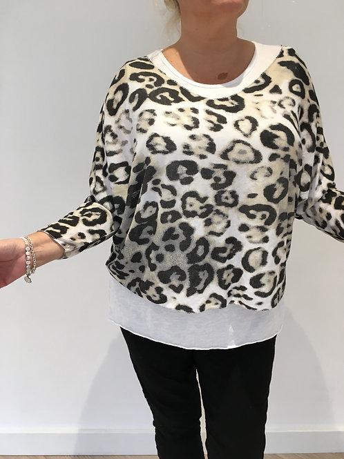 Cream leopard fine knit sweater set